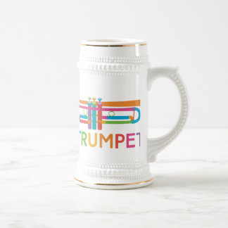 Vibrant Trumpet in Rainbow Colors Beer Stein
