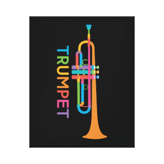 Vibrant Trumpet in Rainbow Colors Canvas Print