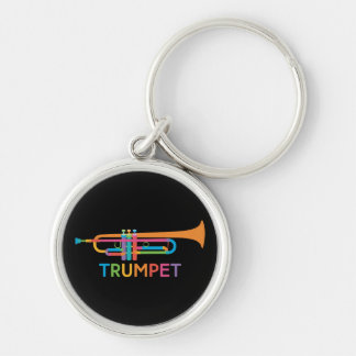 Vibrant Trumpet in Rainbow Colors Keychain