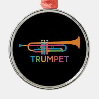 Vibrant Trumpet in Rainbow Colors Metal Ornament