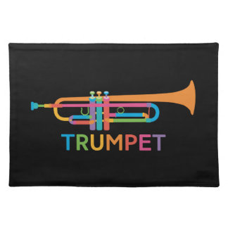 Vibrant Trumpet in Rainbow Colors Placemat