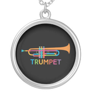 Vibrant Trumpet in Rainbow Colors Silver Plated Necklace