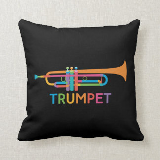 Vibrant Trumpet in Rainbow Colors Throw Pillow