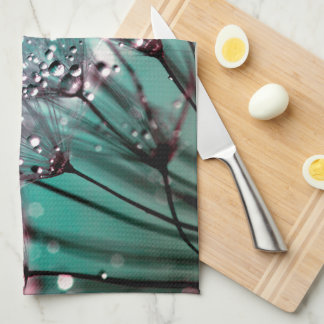 Vibrant Turquoise and Black Wet Dandelions Kitchen Towel