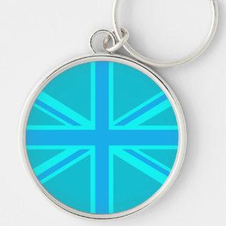 Vibrant Turquoise Union Jack British Flag Silver-Colored Round Keychain