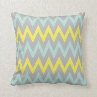 Vibrant Turquoise, Yellow and Grey Pillow