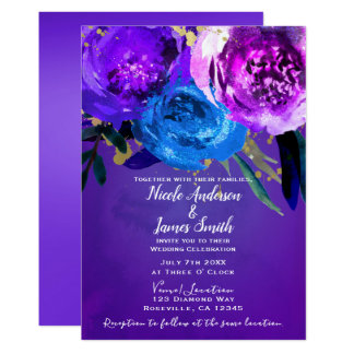 Vibrant Ultra Violet Purple Floral Fantasy Wedding Card