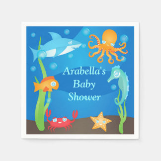 Vibrant Under the Sea Baby Shower Napkin Disposable Napkin