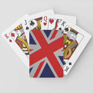 Vibrant Union Jack on Carbon Fiber Style Print Playing Cards