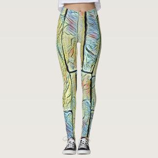 Vibrant Vertical Artistic Pastel Colored Bricks Leggings