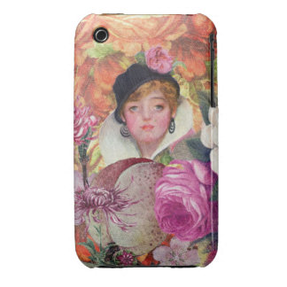 Vibrant Vintage Woman Flower Garden Case-Mate iPhone 3 Cases