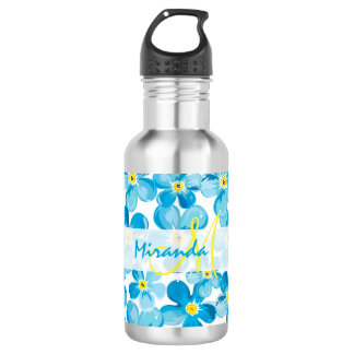 Vibrant watercolor blue forget me not flowers name 532 ml water bottle