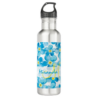 Vibrant watercolor blue forget me not flowers name 710 ml water bottle