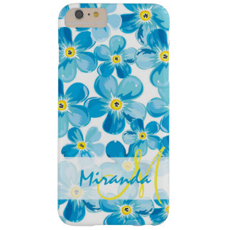 Vibrant watercolor blue forget me not flowers name barely there iPhone 6 plus case