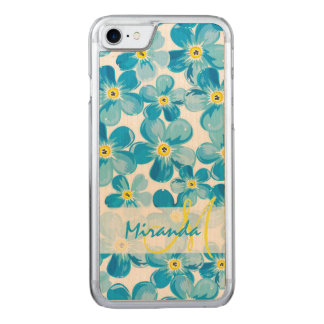 Vibrant watercolor blue forget me not flowers name carved iPhone 8/7 case