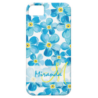 Vibrant watercolor blue forget me not flowers name case for the iPhone 5