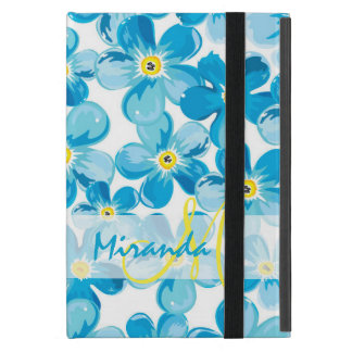 Vibrant watercolor blue forget me not flowers name cover for iPad mini