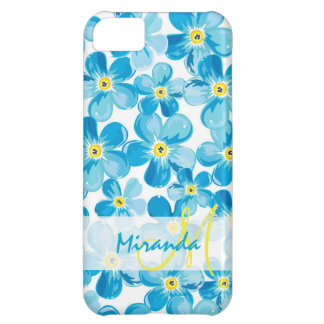 Vibrant watercolor blue forget me not flowers name cover for iPhone 5C