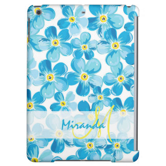 Vibrant watercolor blue forget me not flowers name iPad air cases