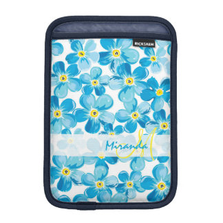 Vibrant watercolor blue forget me not flowers name iPad mini sleeve