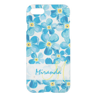 Vibrant watercolor blue forget me not flowers name iPhone 8/7 case