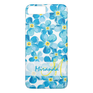 Vibrant watercolor blue forget me not flowers name iPhone 8 plus/7 plus case