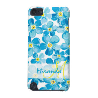 Vibrant watercolor blue forget me not flowers name iPod touch 5G covers