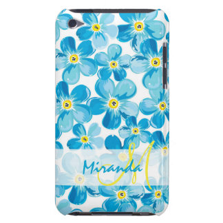 Vibrant watercolor blue forget me not flowers name iPod touch case
