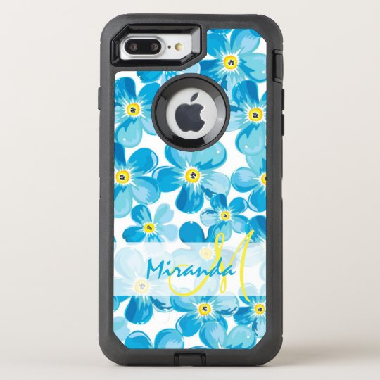 Vibrant watercolor blue forget me not flowers name OtterBox defender iPhone 7 plus case