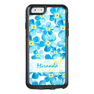Vibrant watercolor blue forget me not flowers name OtterBox iPhone 6/6s case