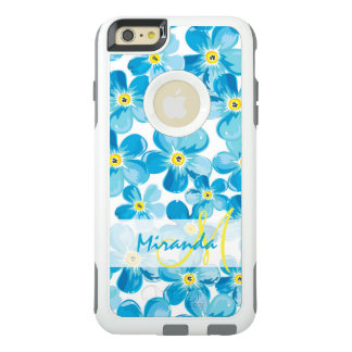 Vibrant watercolor blue forget me not flowers name OtterBox iPhone 6/6s plus case