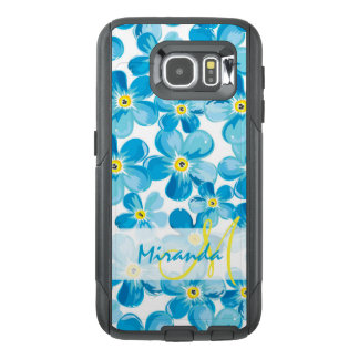Vibrant watercolor blue forget me not flowers name OtterBox samsung galaxy s6 case