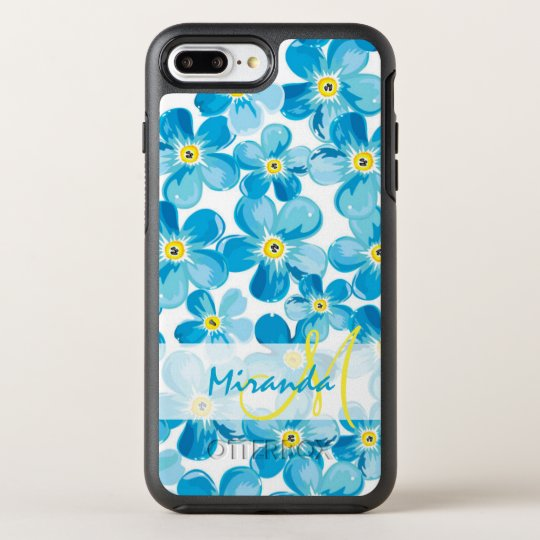 Vibrant watercolor blue forget me not flowers name OtterBox symmetry iPhone 7 plus case