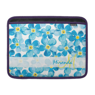 Vibrant watercolor blue forget me not flowers name sleeve for MacBook air