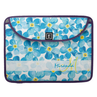 Vibrant watercolor blue forget me not flowers name sleeve for MacBooks
