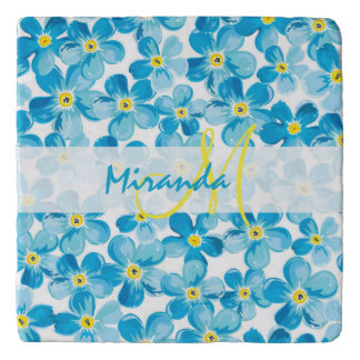 Vibrant watercolor blue forget me not flowers name trivet