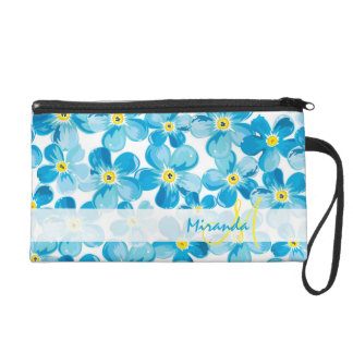 Vibrant watercolor blue forget me not flowers name wristlet clutch