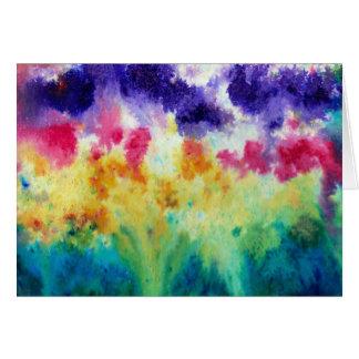 Vibrant Watercolor Garden Dissolve Greeting Card