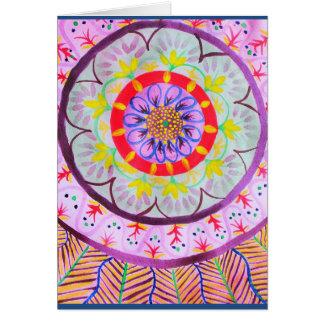 Vibrant watercolor mandala design with ethnic vibe card