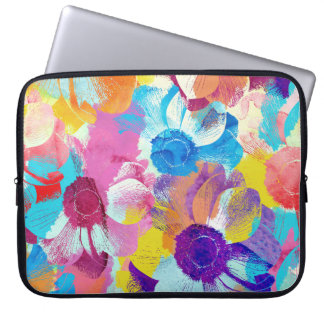 Vibrant Watercolor Painted Anemone Flower Laptop Sleeve