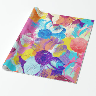 Vibrant Watercolor Painted Anemone Flower Wrapping Paper