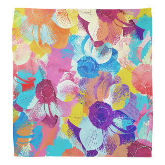 Vibrant Watercolor Painted Anemone Flowers Bandana