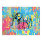 vibrant watercolours splatters elephant sketch postcard