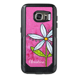 Vibrant White Daisy Flower Green Leaves on Pink OtterBox Samsung Galaxy S7 Case