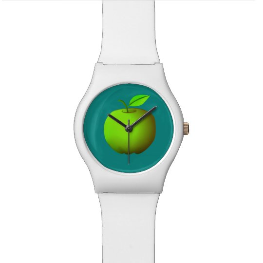 Vibrant White Turquoise Green Apple Simple Cool Watch