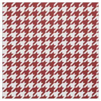 Vibrant Wine Red and White Hounds Tooth Fabric