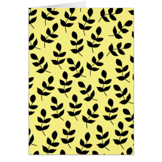 Vibrant Yellow and black leaf greeting card