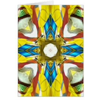 Vibrant Yellow Blue Cross Shaped Pattern Card