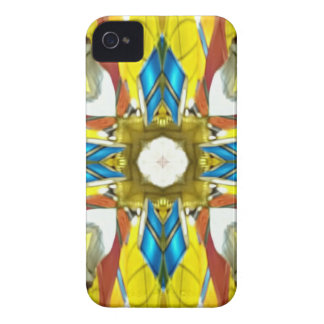 Vibrant Yellow Blue Cross Shaped Pattern iPhone 4 Case-Mate Cases
