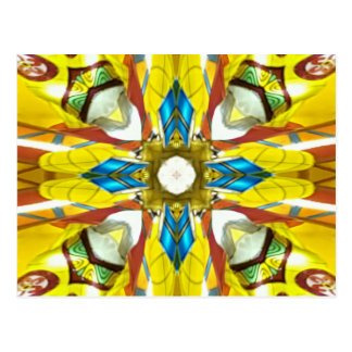 Vibrant Yellow Blue Cross Shaped Pattern Postcard